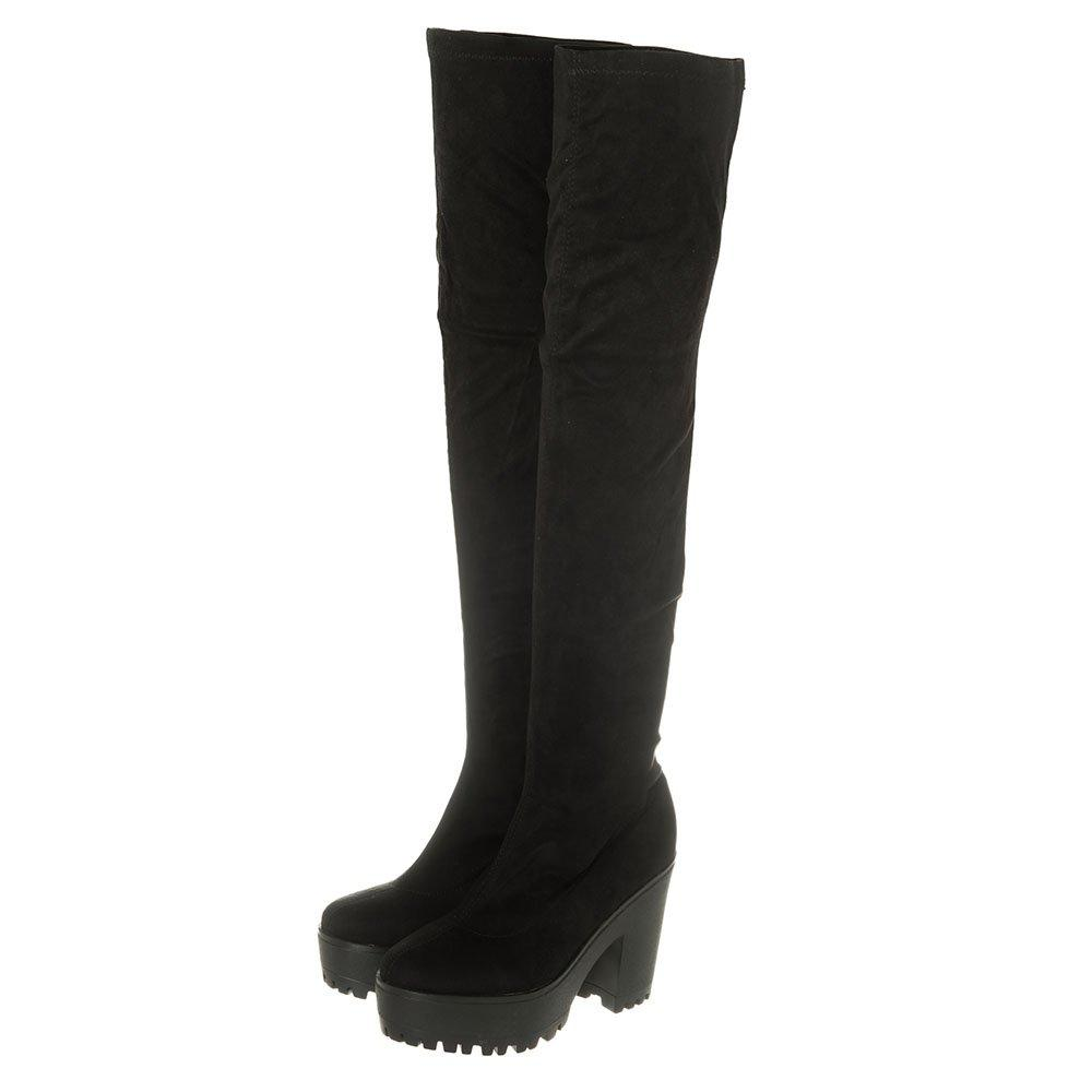 Over The Knee Stretch Fabric High Block Heel Platform Boot With Cleated Sole