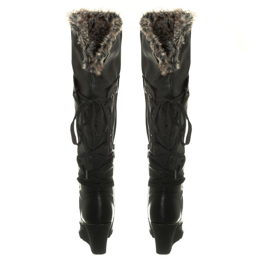 Medium Wedge Heel Cleated Sole Fur Lined Knee High Boot