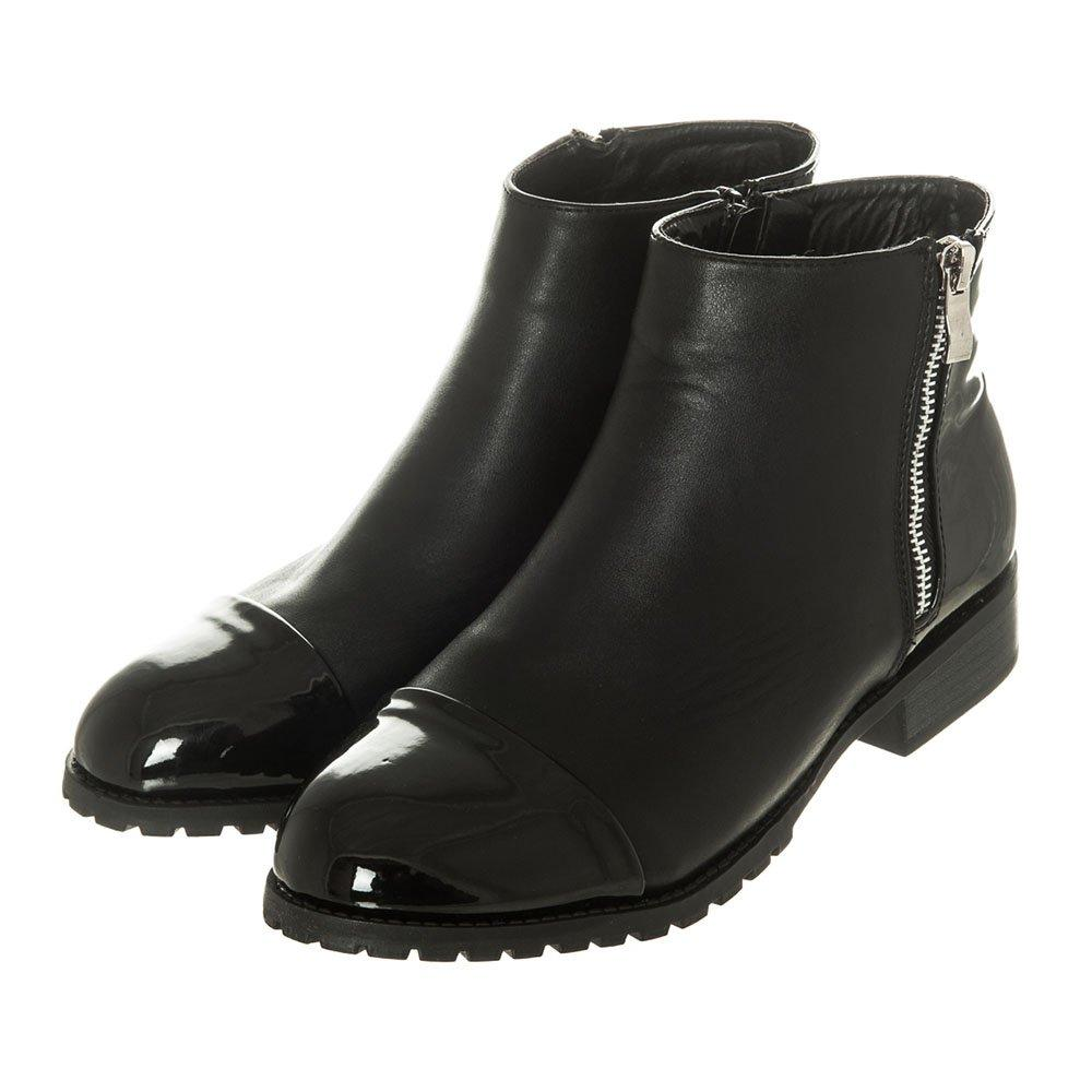 Low Block Heel Cleated Sole Ankle Boot With Side Zip