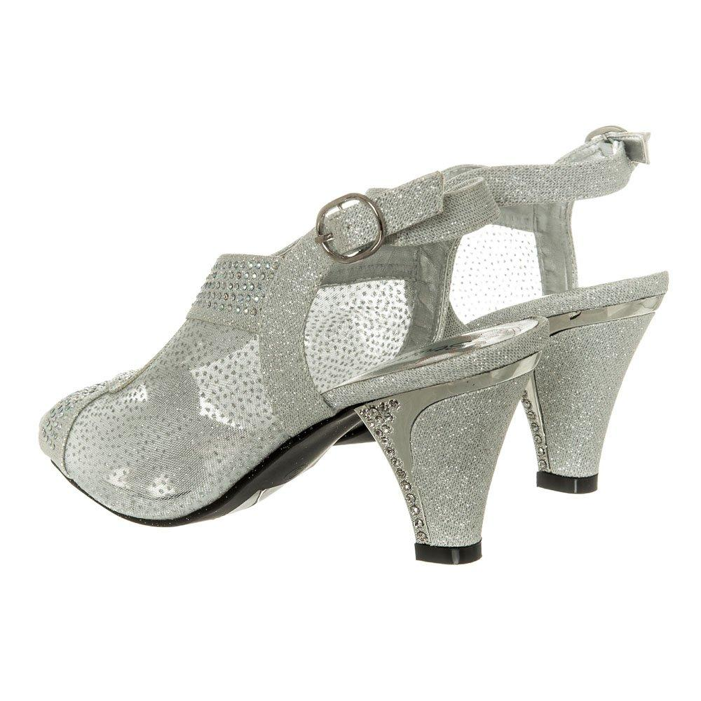 Low  Kitten Heel Open Toe Sling Back Diamante Shoe