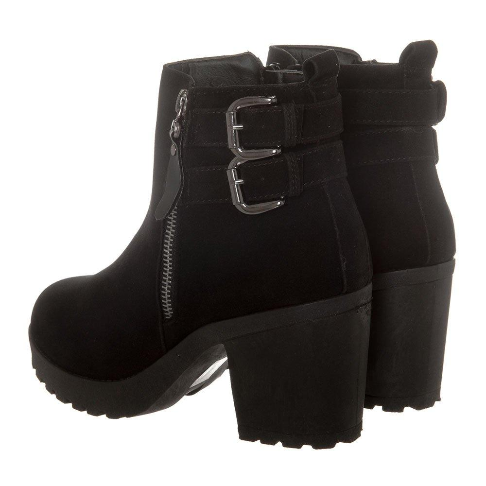 Medium Block Heel Cleated Platform Sole Side Zip Buckle Trim Ankle Boot