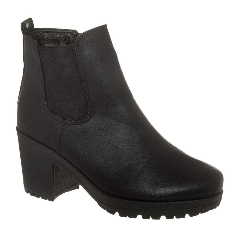 Medium Block Heel Cleated Sole Chelsea  Boot With Elastic Gusset