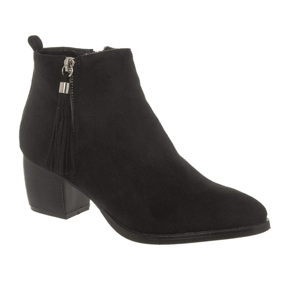Medium Block Heel Ankle Boot With Fringe Tassel Side Trim