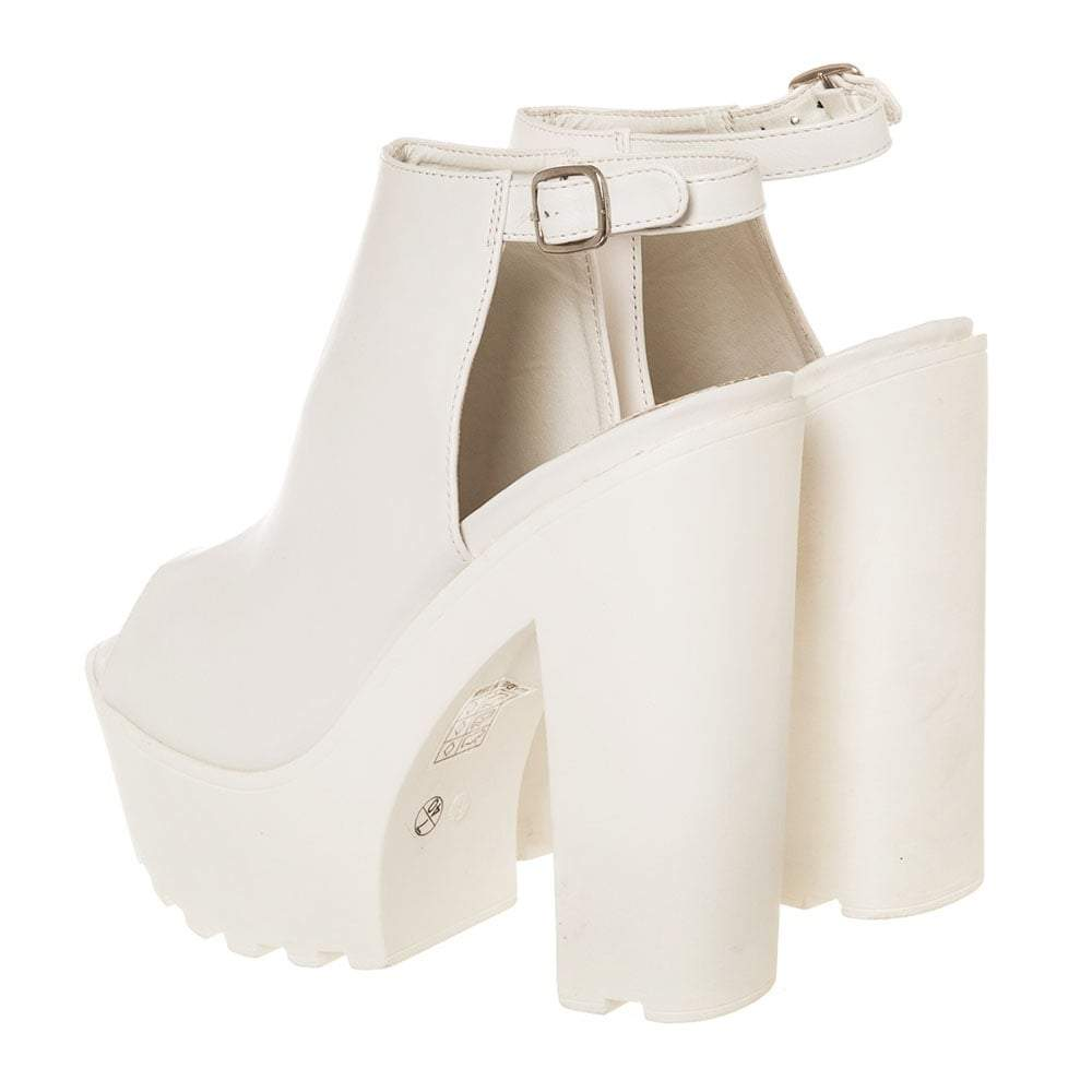 High Chunky Block Heel Cleated Sole Platform Sandal
