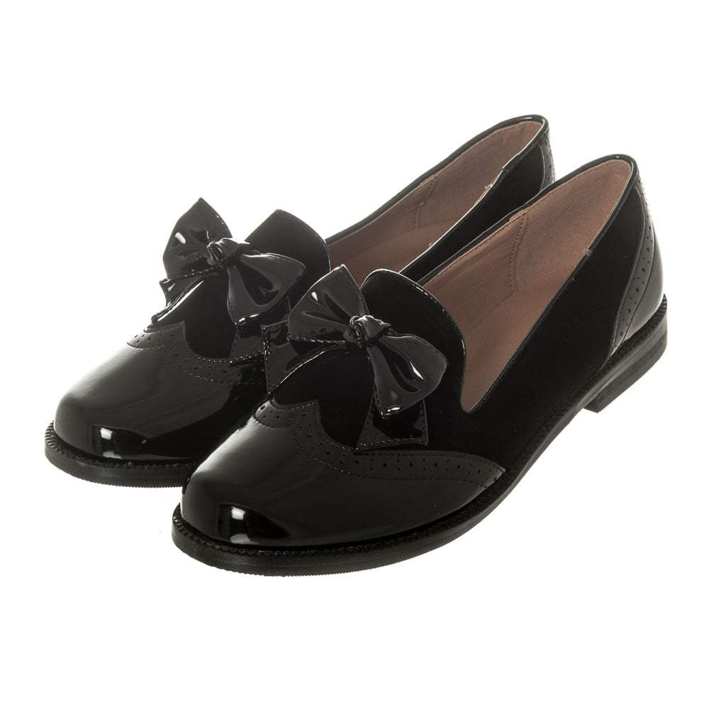 Flat Heel Round Toe Brogue Loafer With Bow Trim