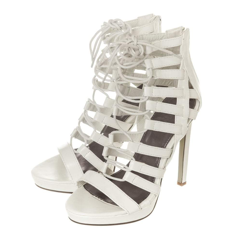 High Heel Open Toe Platform Ghillie Sandal