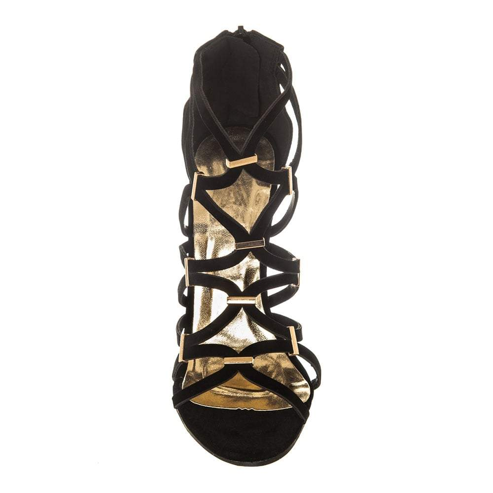 High Stiletto Heel Open Toe Strappy Sandal With Back Zip