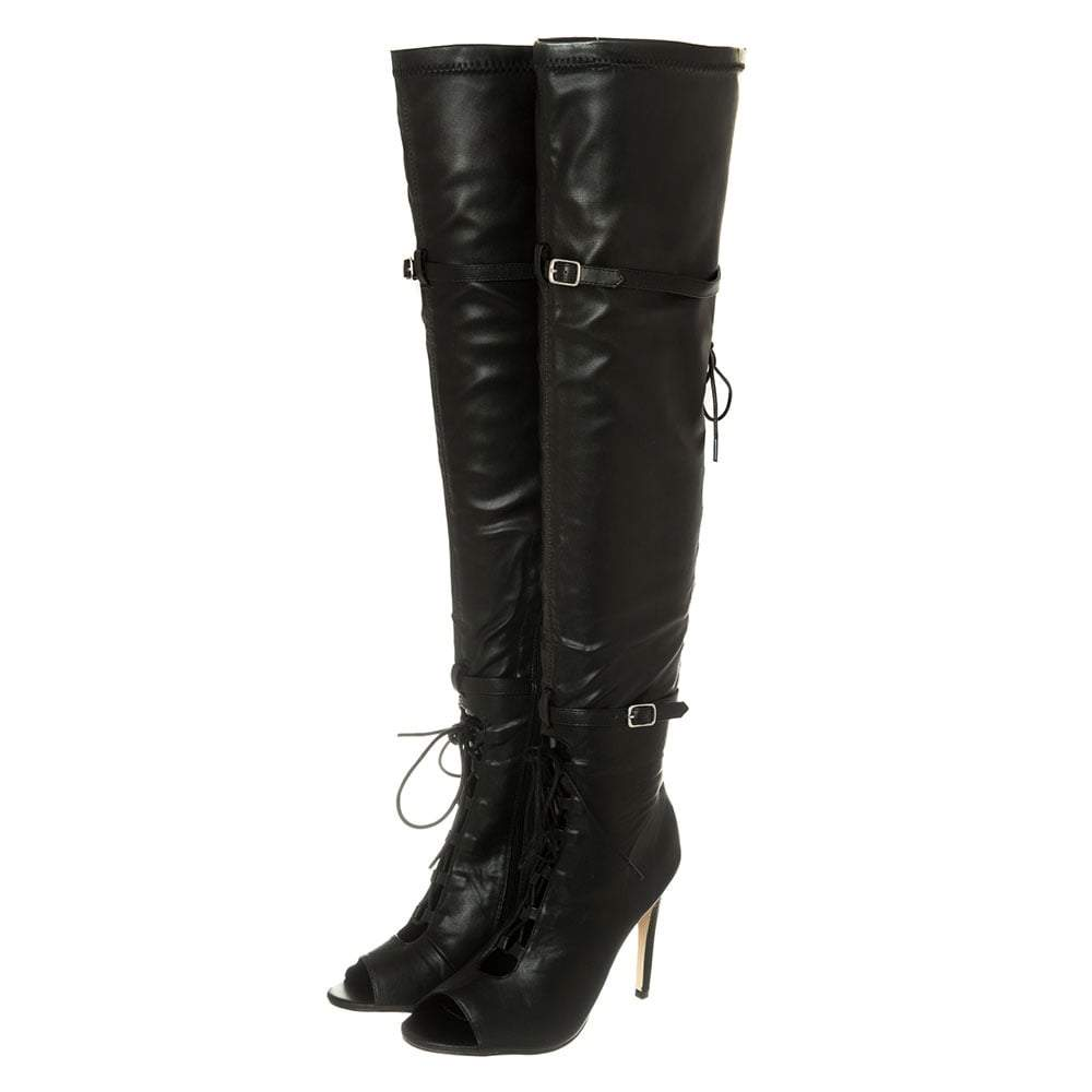 High Heel Open Toe Lace up Boot With Buckle Trim