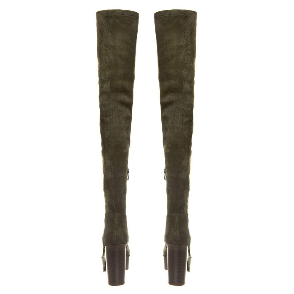 Block Heel Over the Knee Platform Boot With Small Inside Zip