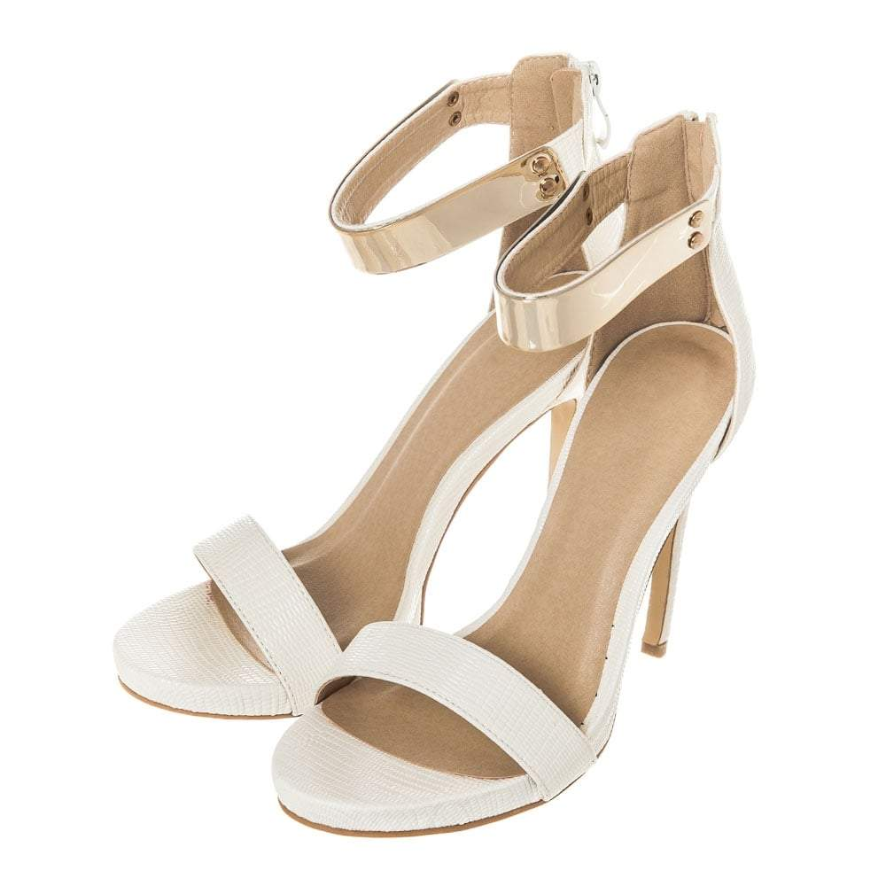 High Heel Gold Trim Ankle Strap Platform Sandal