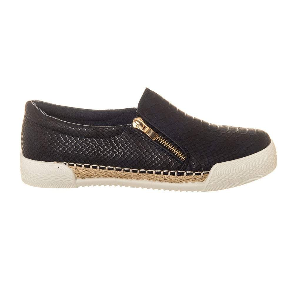 Flat Rubber Sole Slip On Skater Shoe With Side Zip Trim