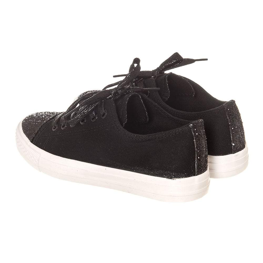 Flat Rubber Sole Lace up Trainer With Glitter Cap