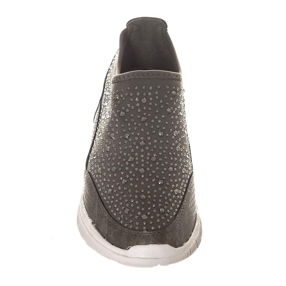 Flat Rubber Sole Stretch Fabric Diamante Skater Shoe With Grip Sole