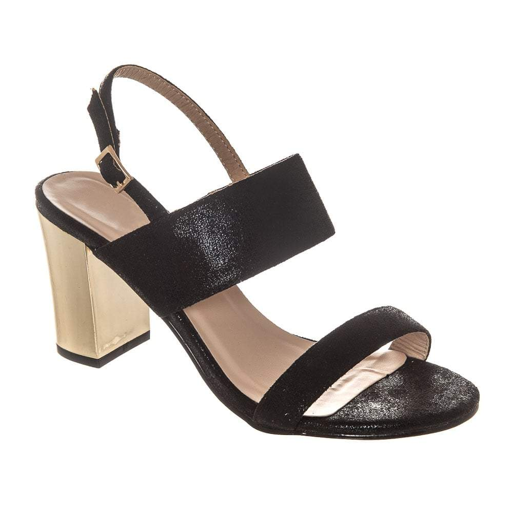 Medium Block Heel Buckle Fastening Sling Back 2 Strap Sandal