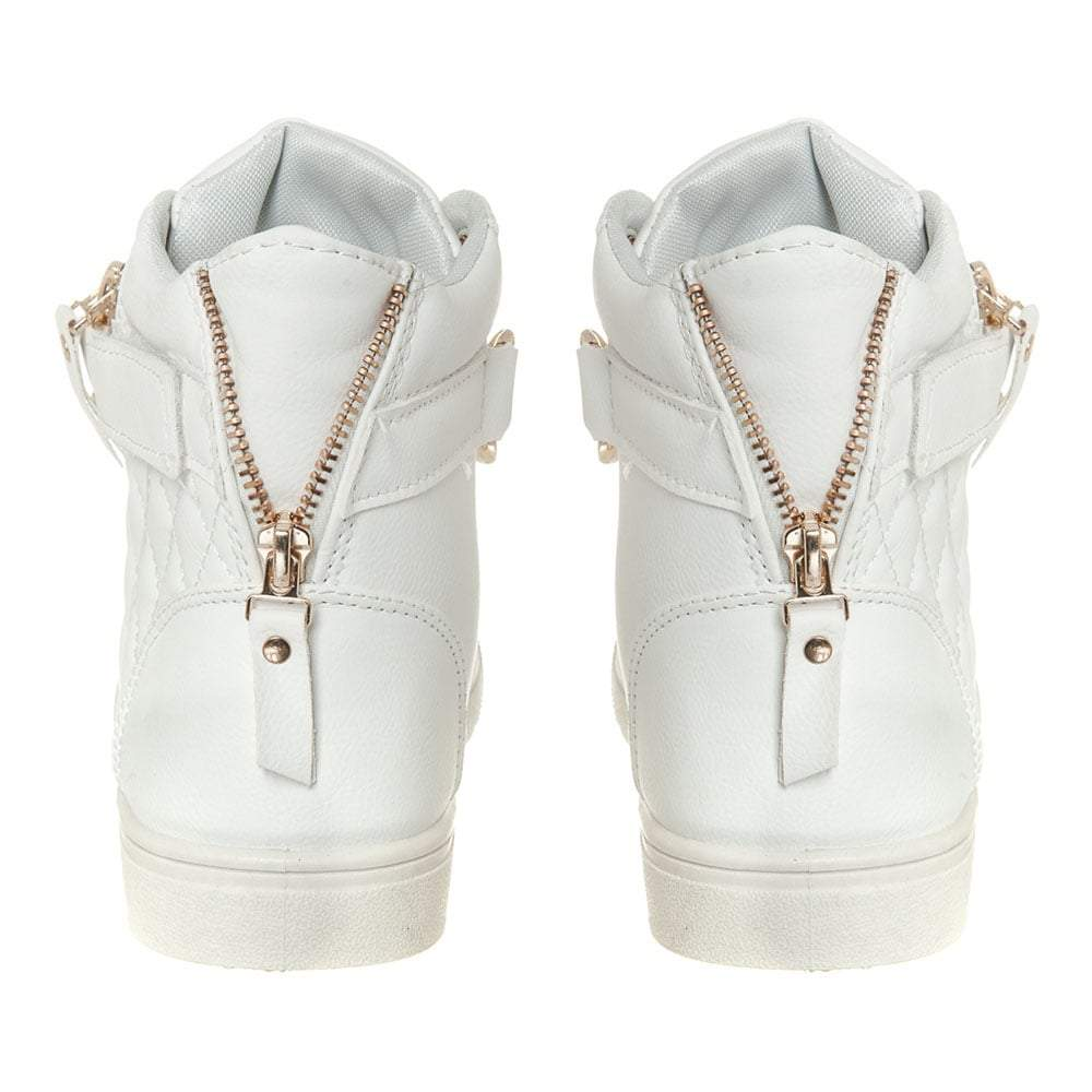 Flat Hi-Top Lace  Up Trainer With Gold Chain Trim