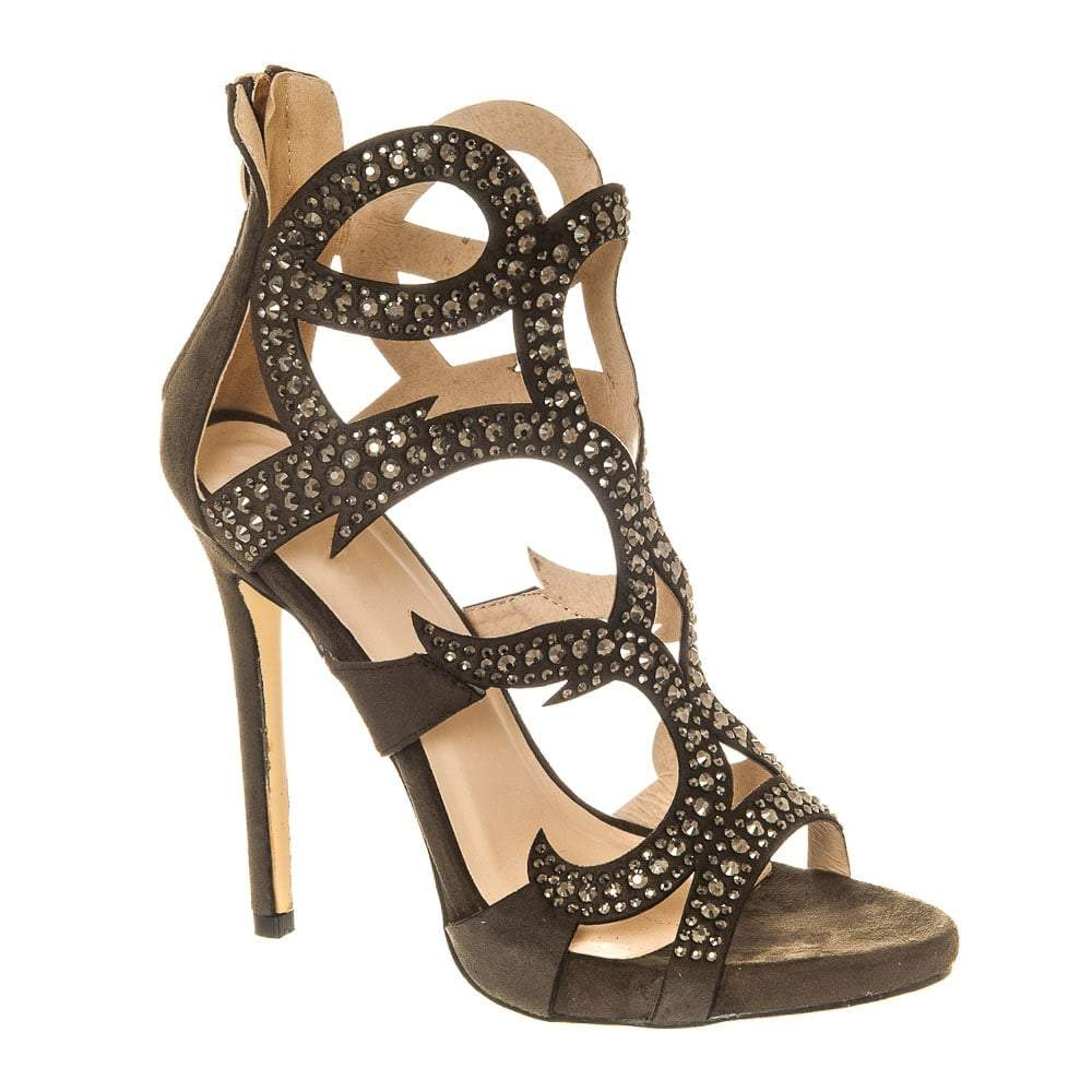 High Stiletto Heel Open Toe Shoe With Diamante Swirl Straps