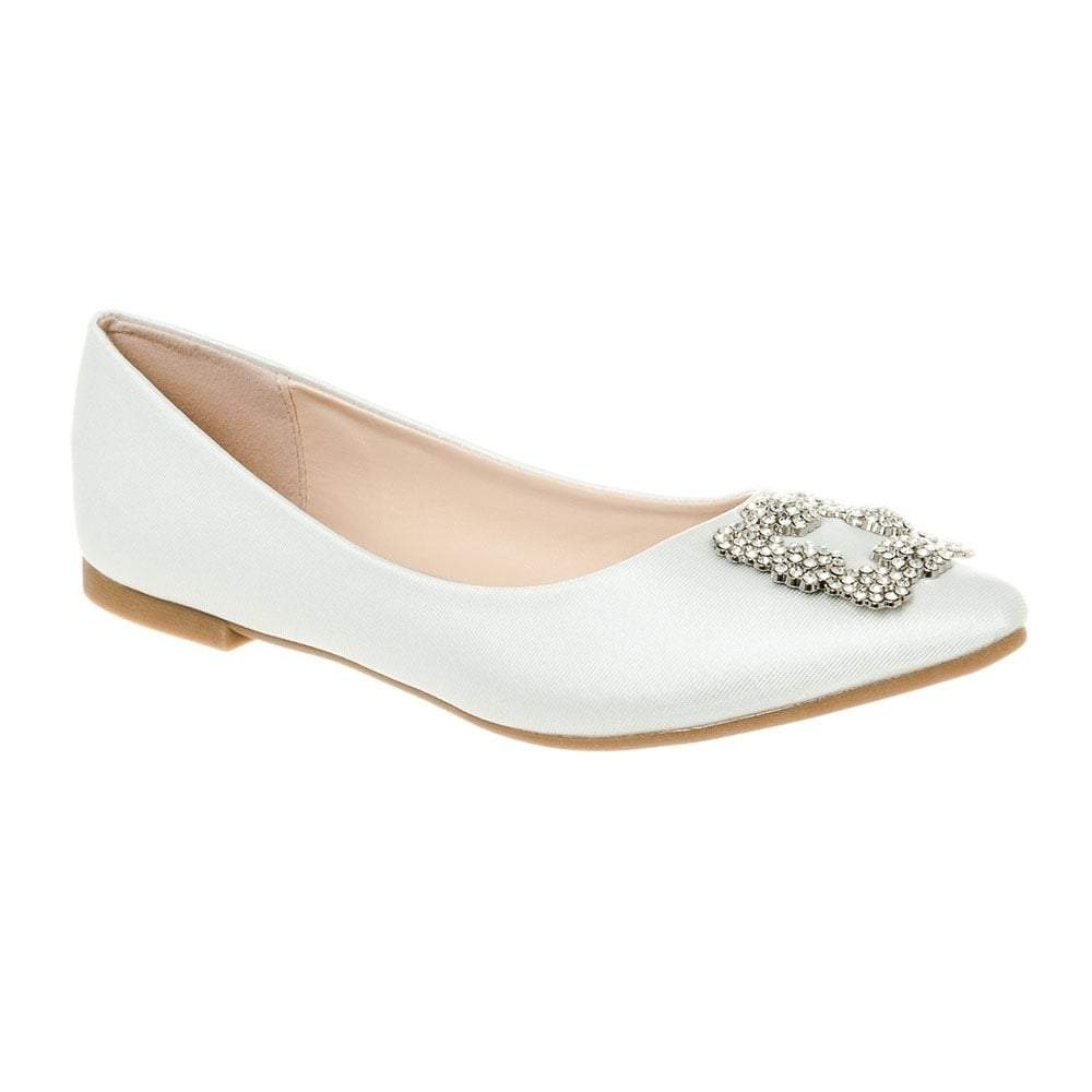 Flat Pointed Toe Satin Shoe With Diamante Broach
