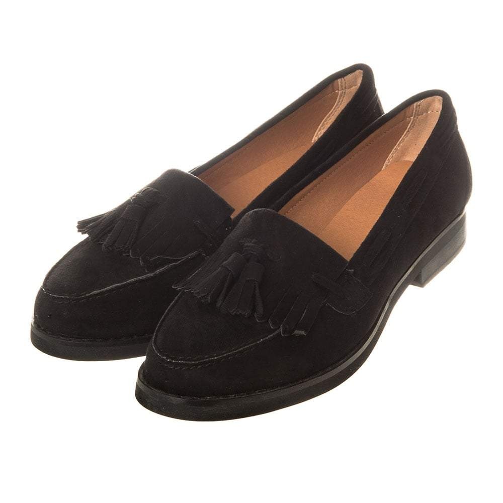 Flat Block Stacked Heel Tassel Fringe Loafer