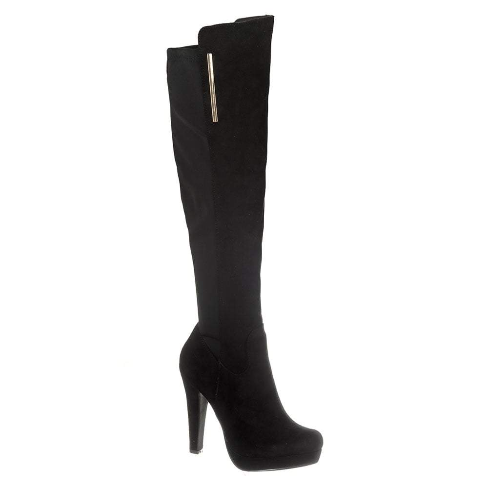 High Heel Platform Knee High Boot Elastic Panel