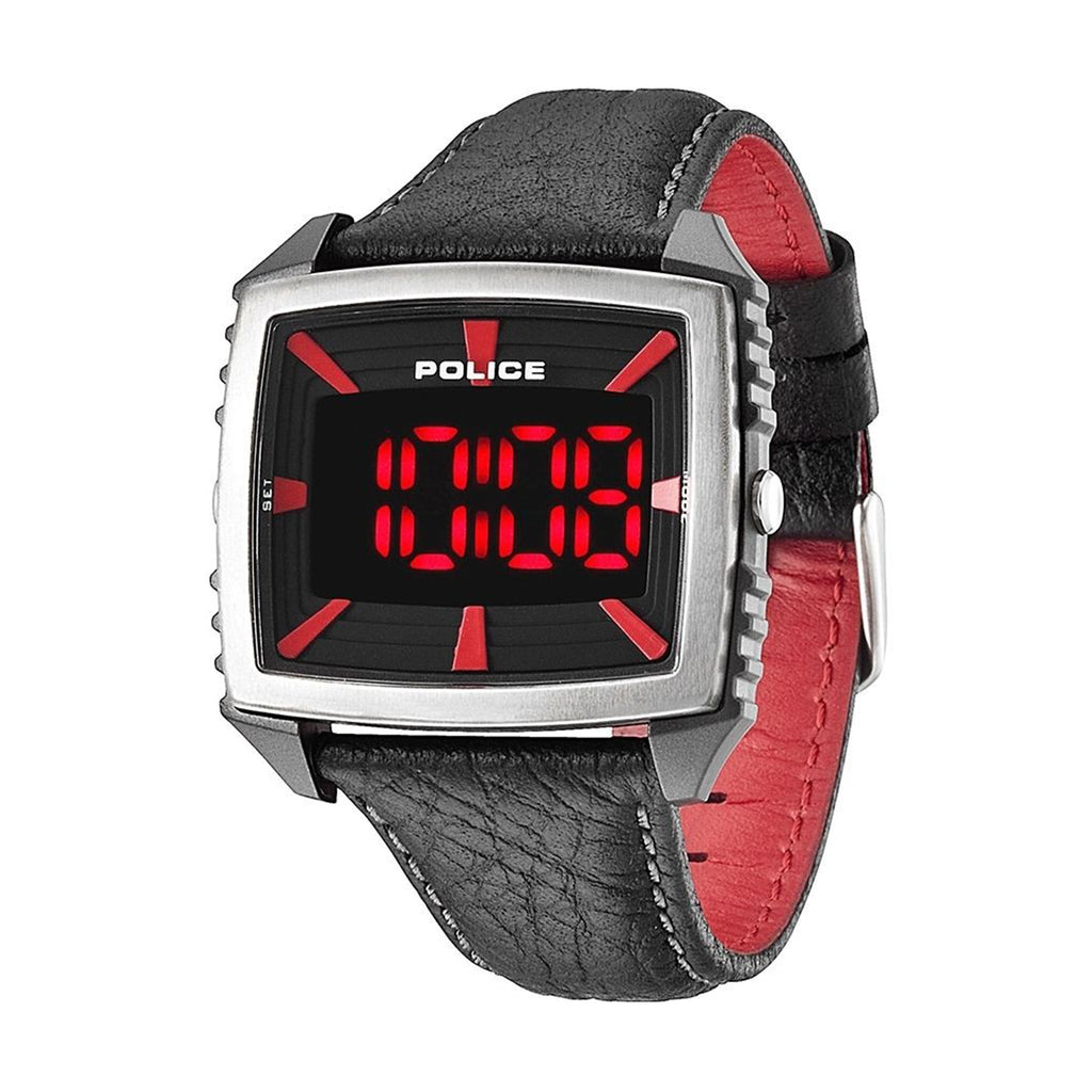 Police 13890JPBS/02 Countdown Men's Digital Black Leather Quartz Watch