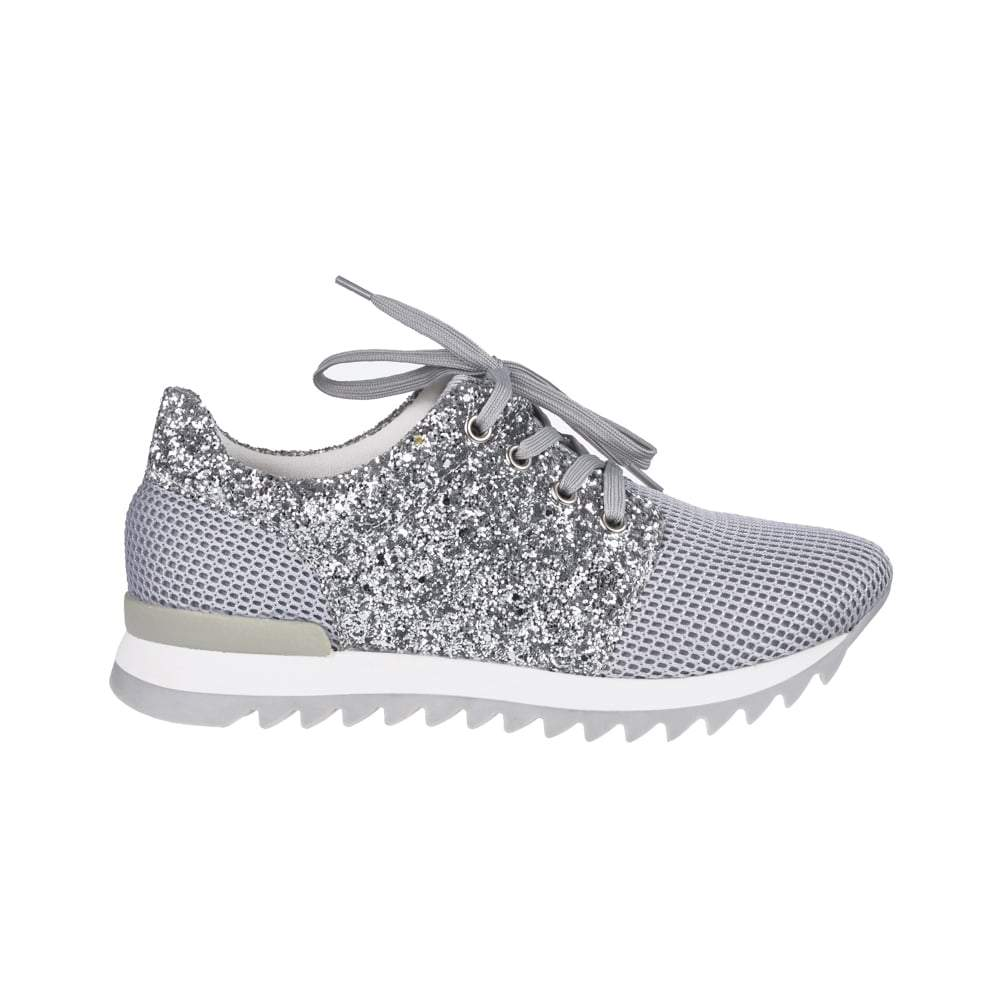 Flat Glitter And Fabric Lace Up Trainer