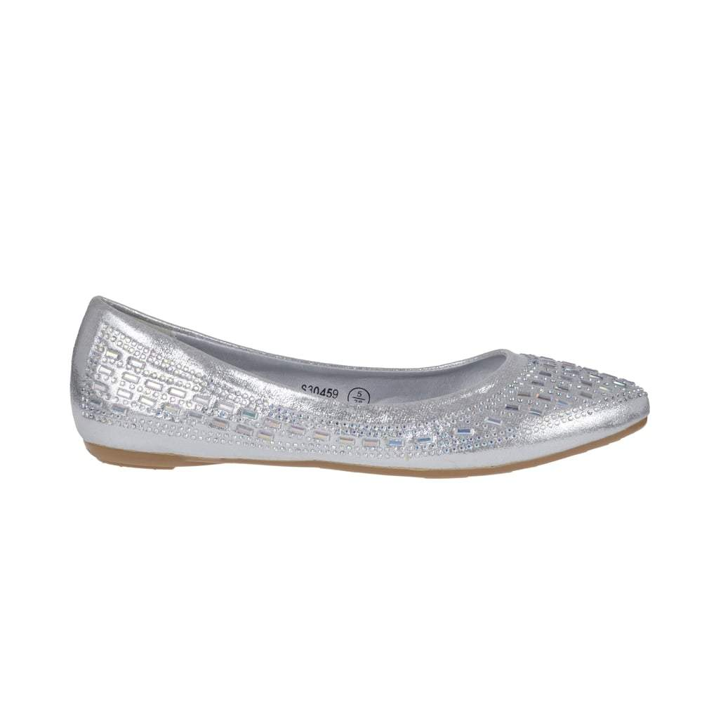 Flat Ballerina Pumps With Diamante And Mirror Stones