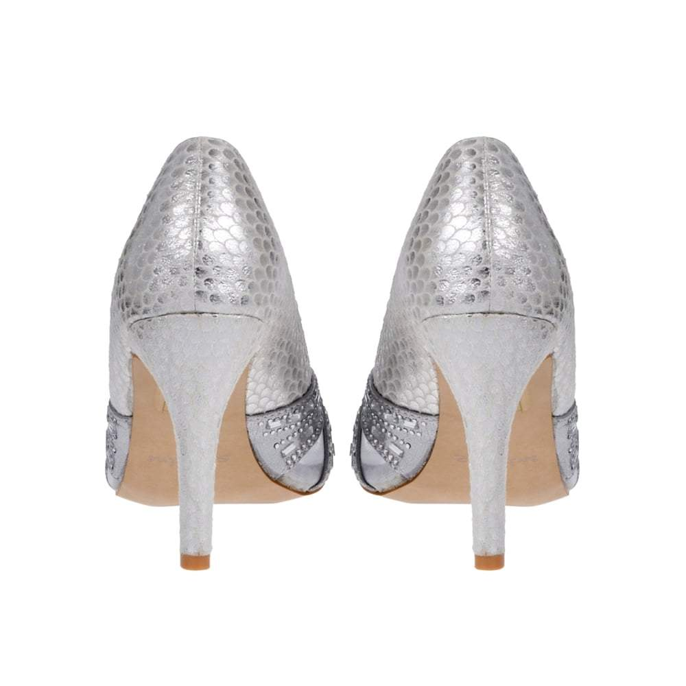 Medium Stiletto Heel Open Toe Shoe in Snake Print
