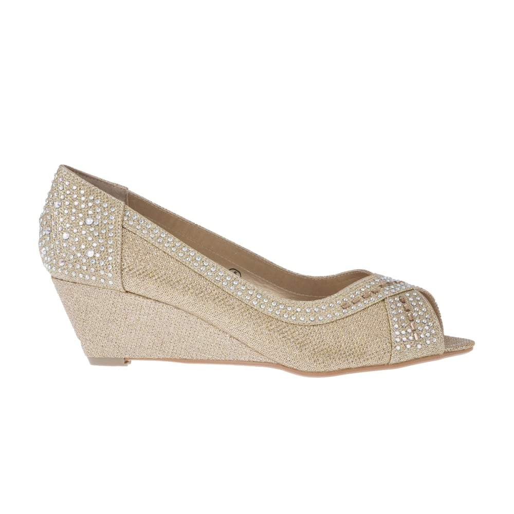 Low Wedge Open Toe Diamante Shoe