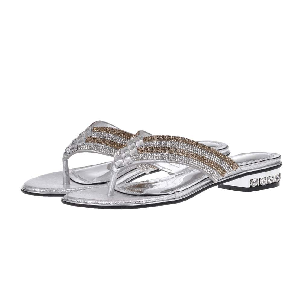 Low Block Heel Diamante Toe Post Sandal
