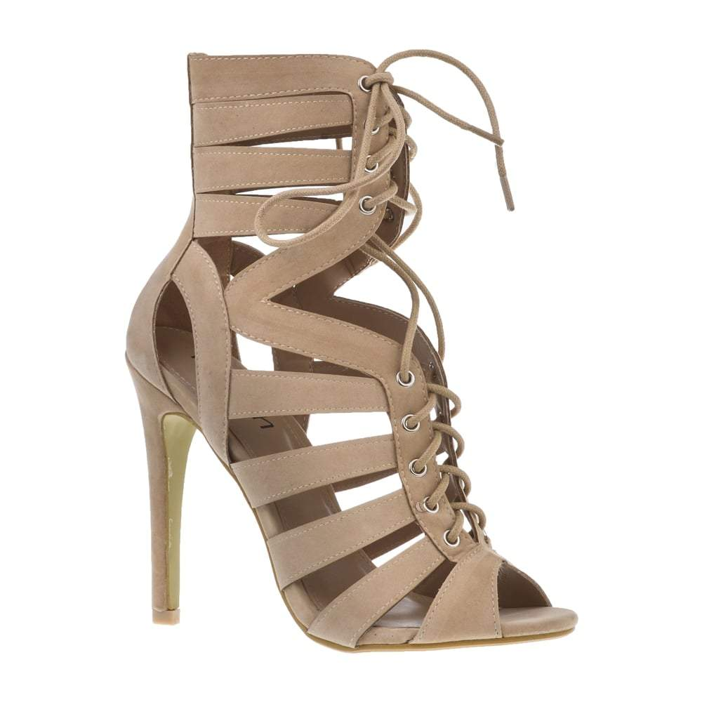 High Stiletto Heel Open Toe Lace Up Ghillie Shoe