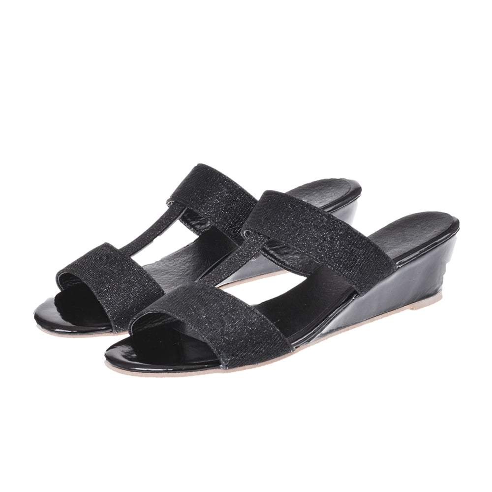 Low Wedge Mule Sandal With Open Toe