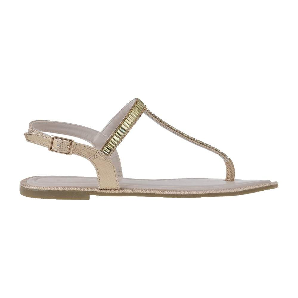 Flat Diamante T-Bar Sandal With Toe Post And Back Strap