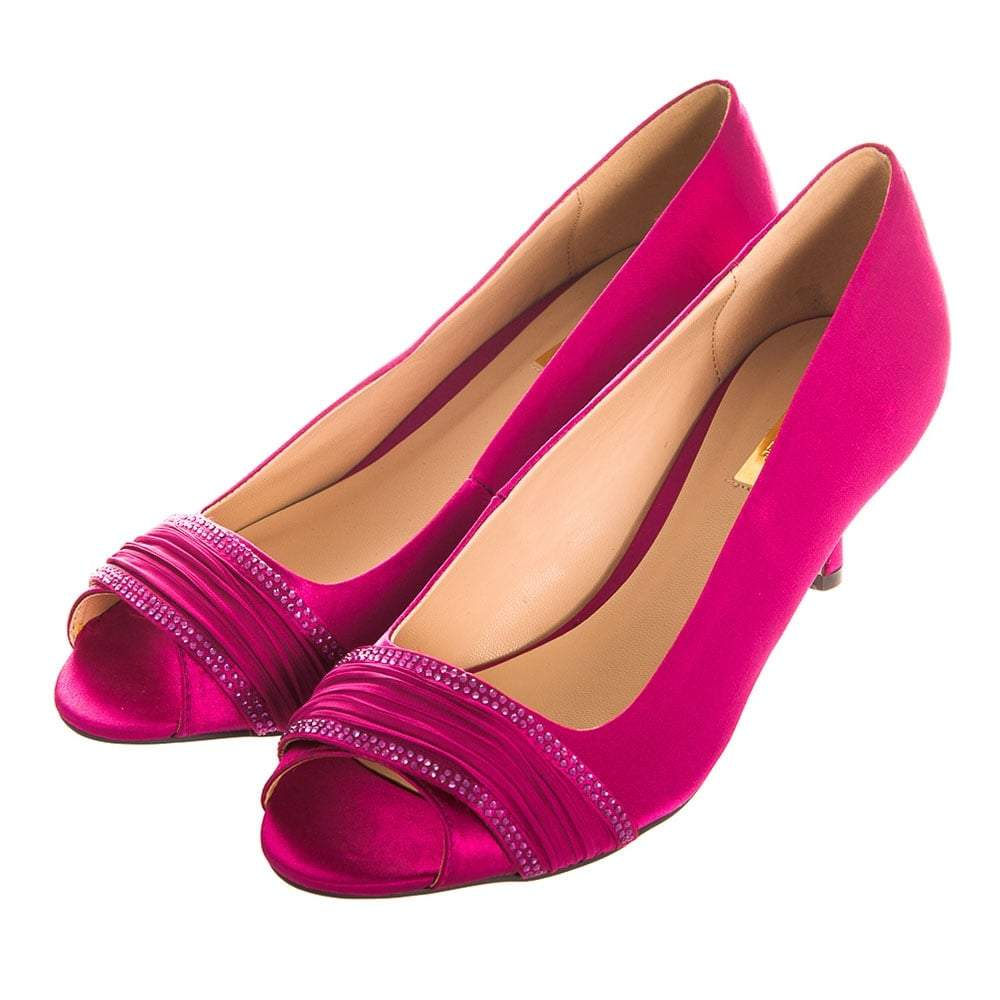 Low Medium Heel Open Toe Satin Shoe