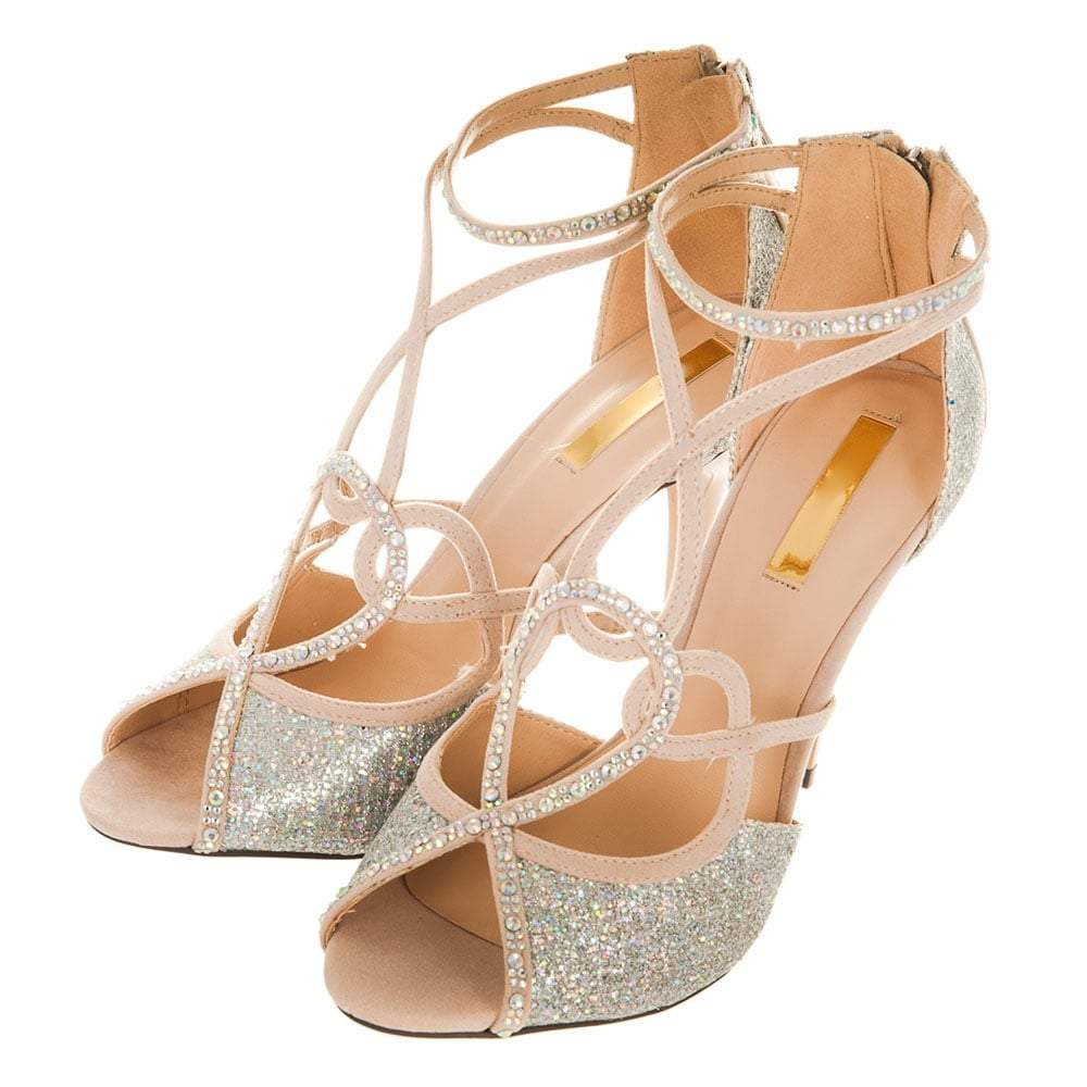 Open Toe Diamante Swirl Ankle Strap Shoes