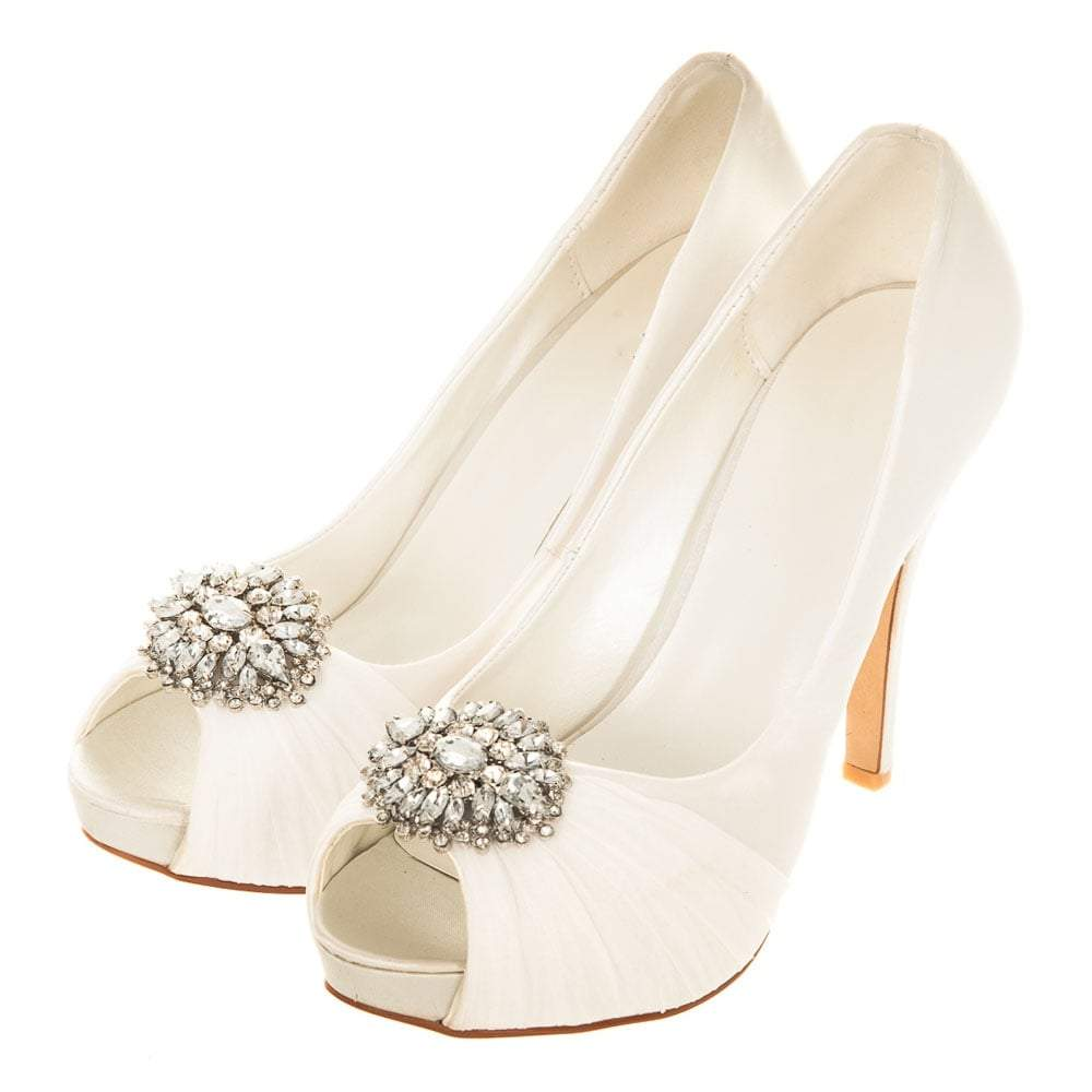 Concealed Platform Satin Open Toe Shoe With Diamante Broach