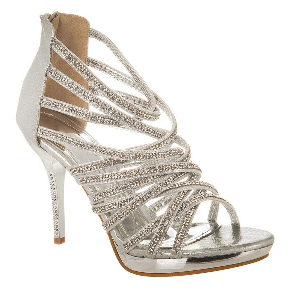 High Heel Open Toe Strappy Diamante Platform Sandal