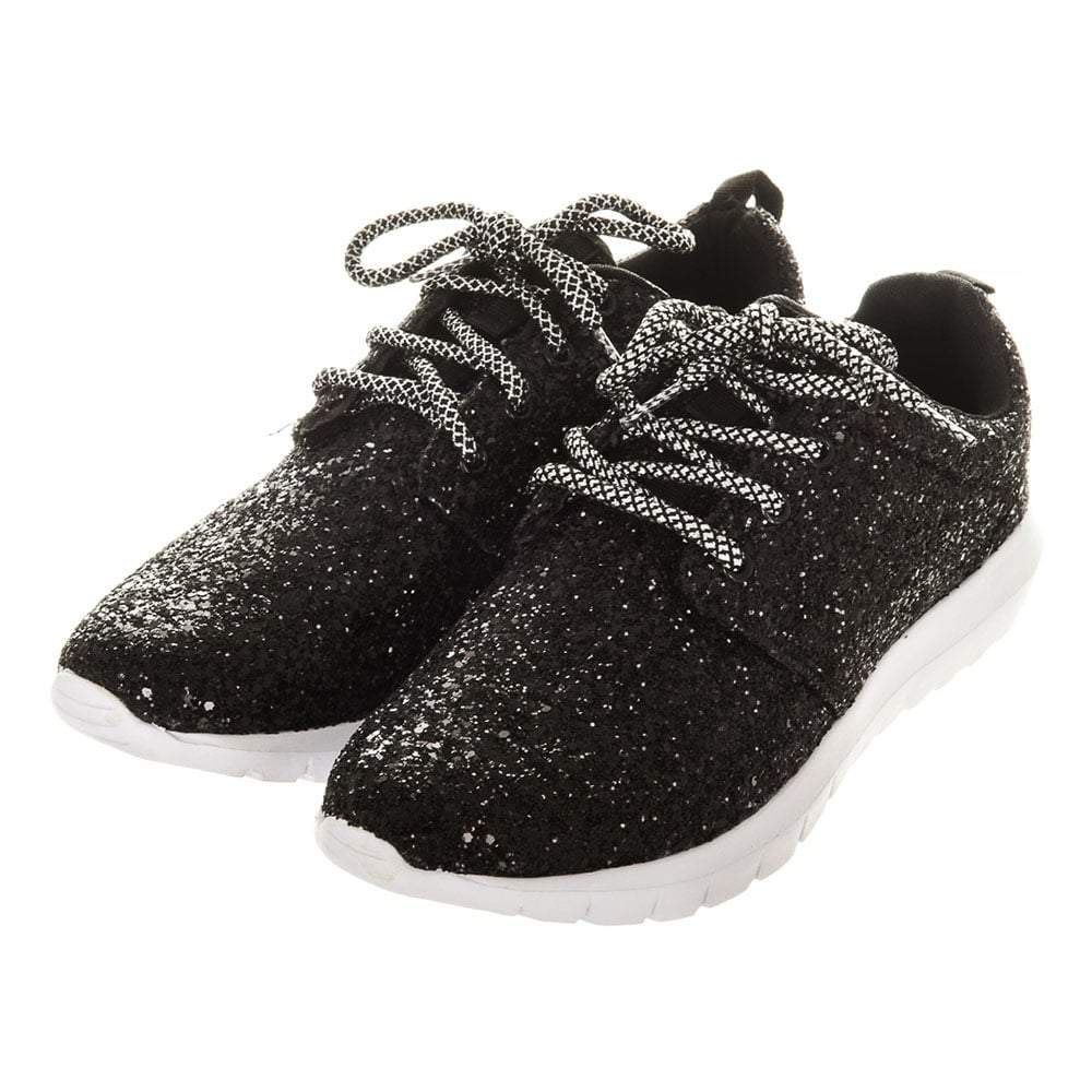 Ladies Flat Glitter Lace Up Trainers