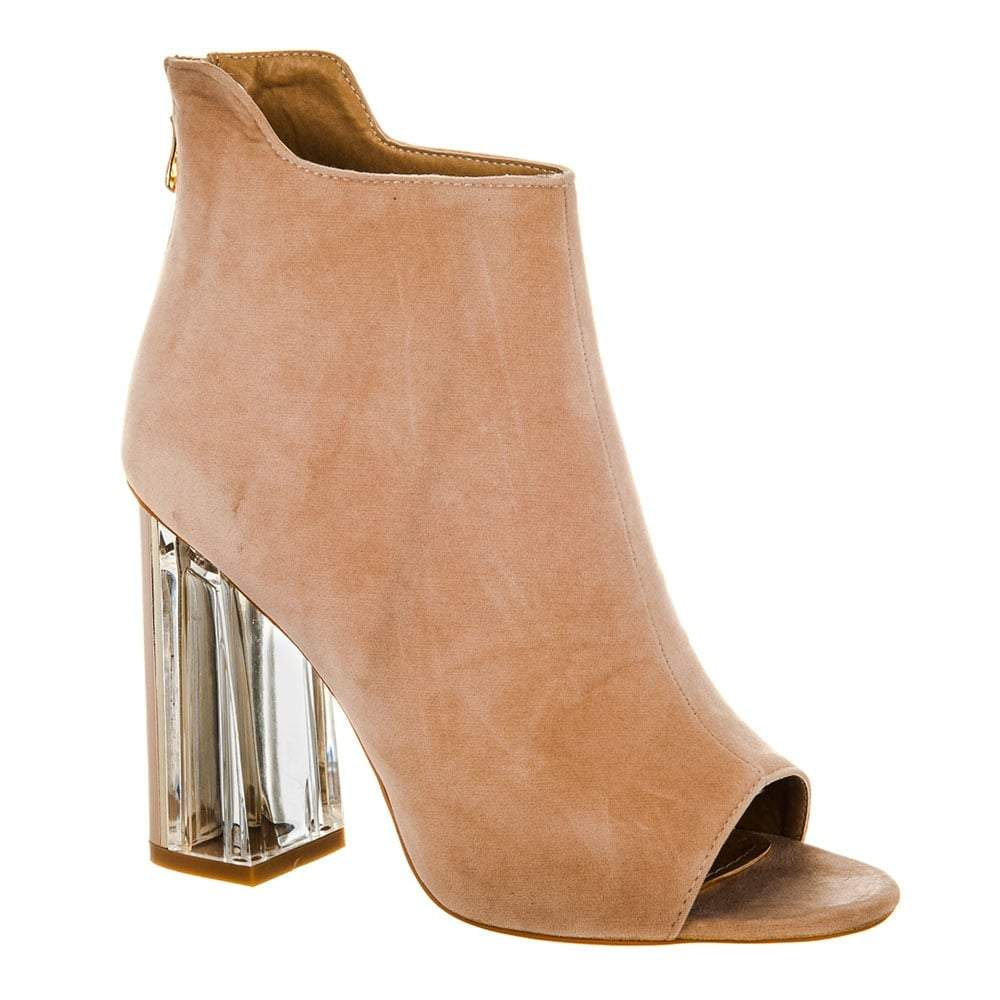 Open Toe Ankle Boot With Clear Block Heel