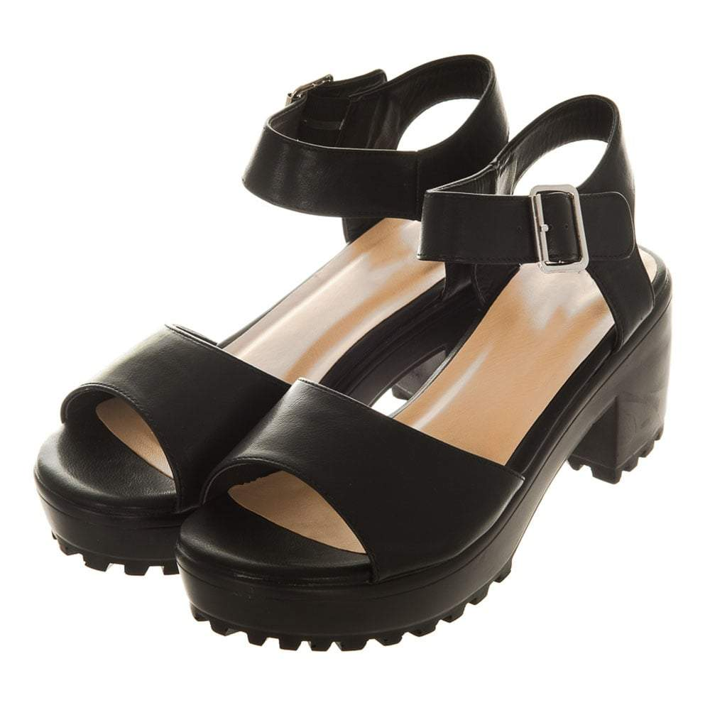 Low Chunky Block Heel Platform Sole Ankle Sandal