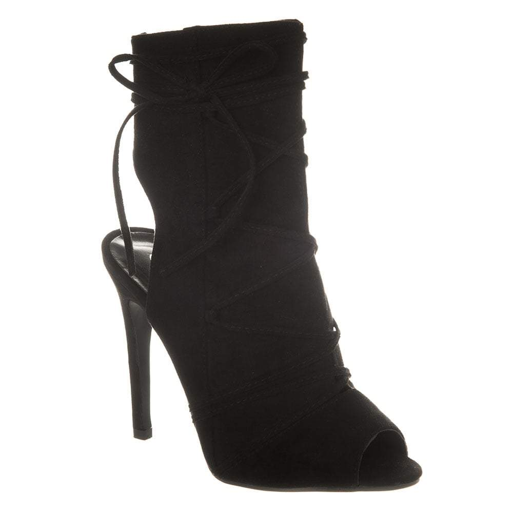Open Back Toe Lace Up Ankle Boot