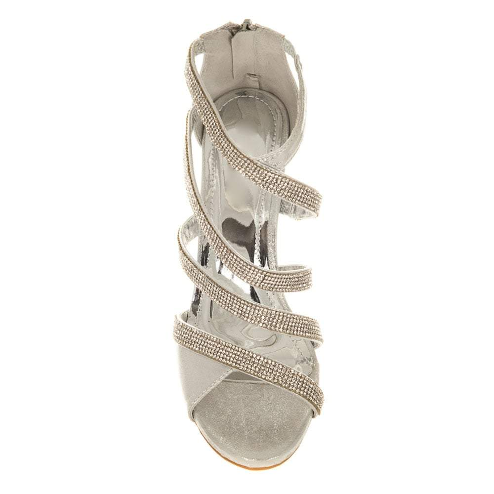 Medium Heel Diamante Strappy Sandals