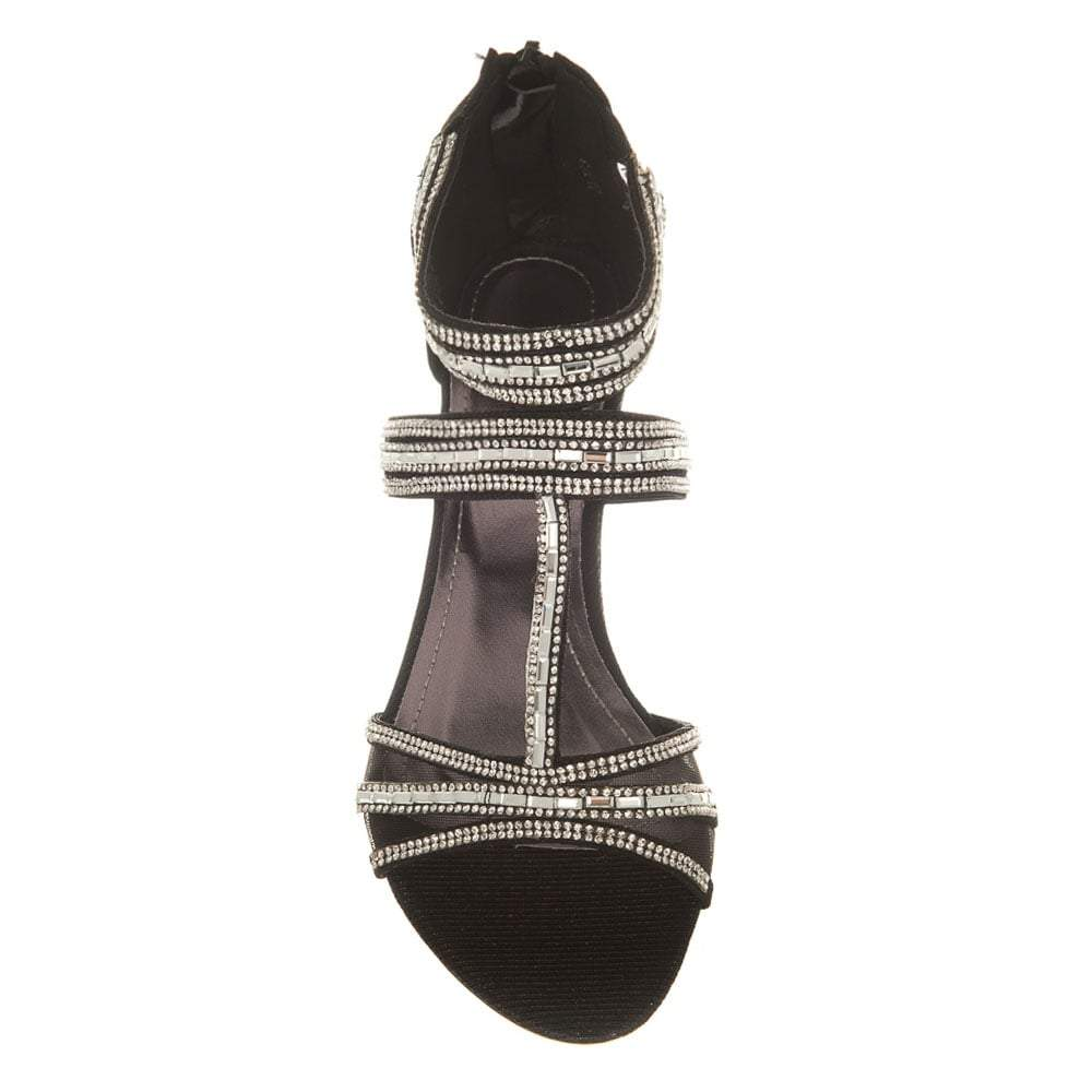 Diamante Wedge T-Bar Sandal Back Zip