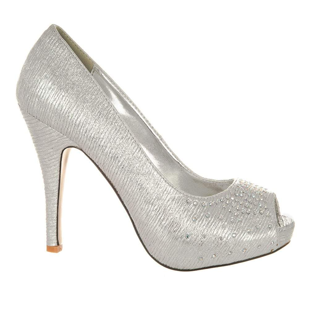 High Heel Open Toe Concealed Platform Diamante Shoe