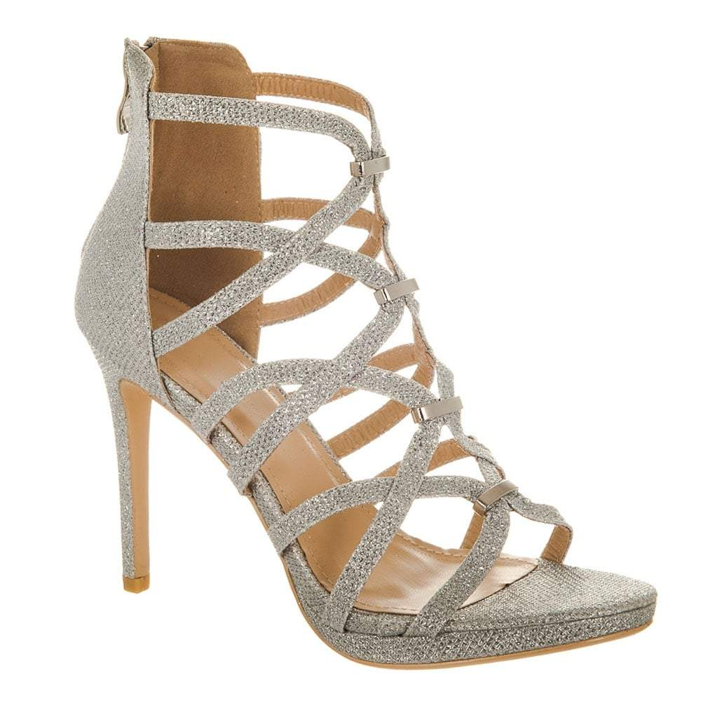 Textured Strappy High Heel Sandal