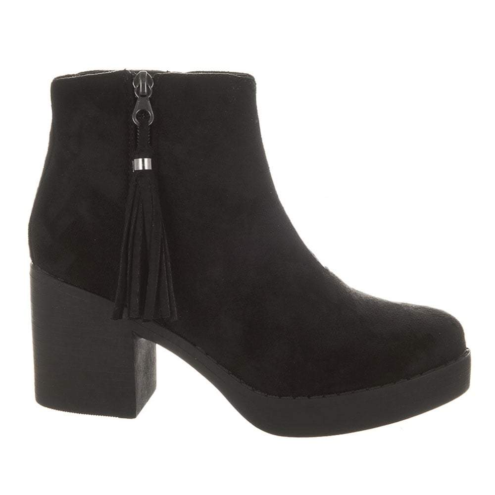 Chunky Sole Side Tassel Ankle Boot
