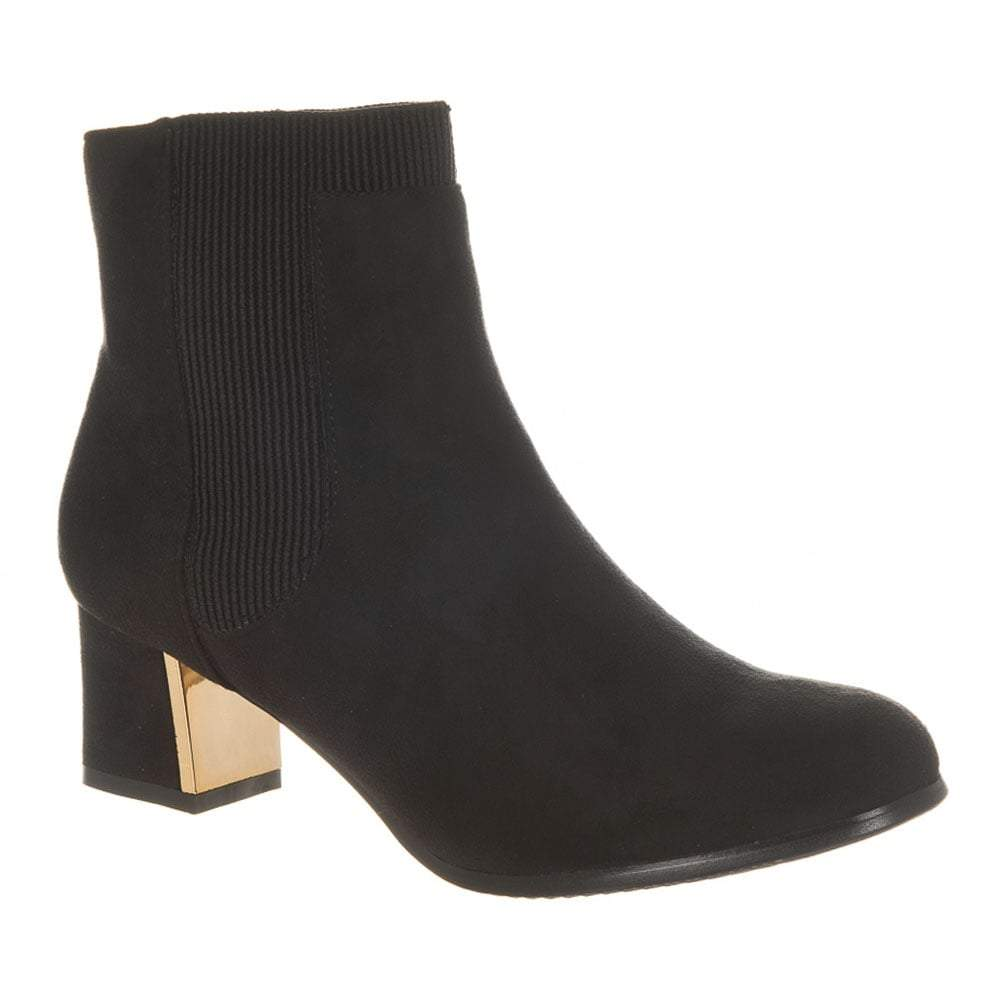 Knitted Side Panel Low Block Heel Ankle Boot