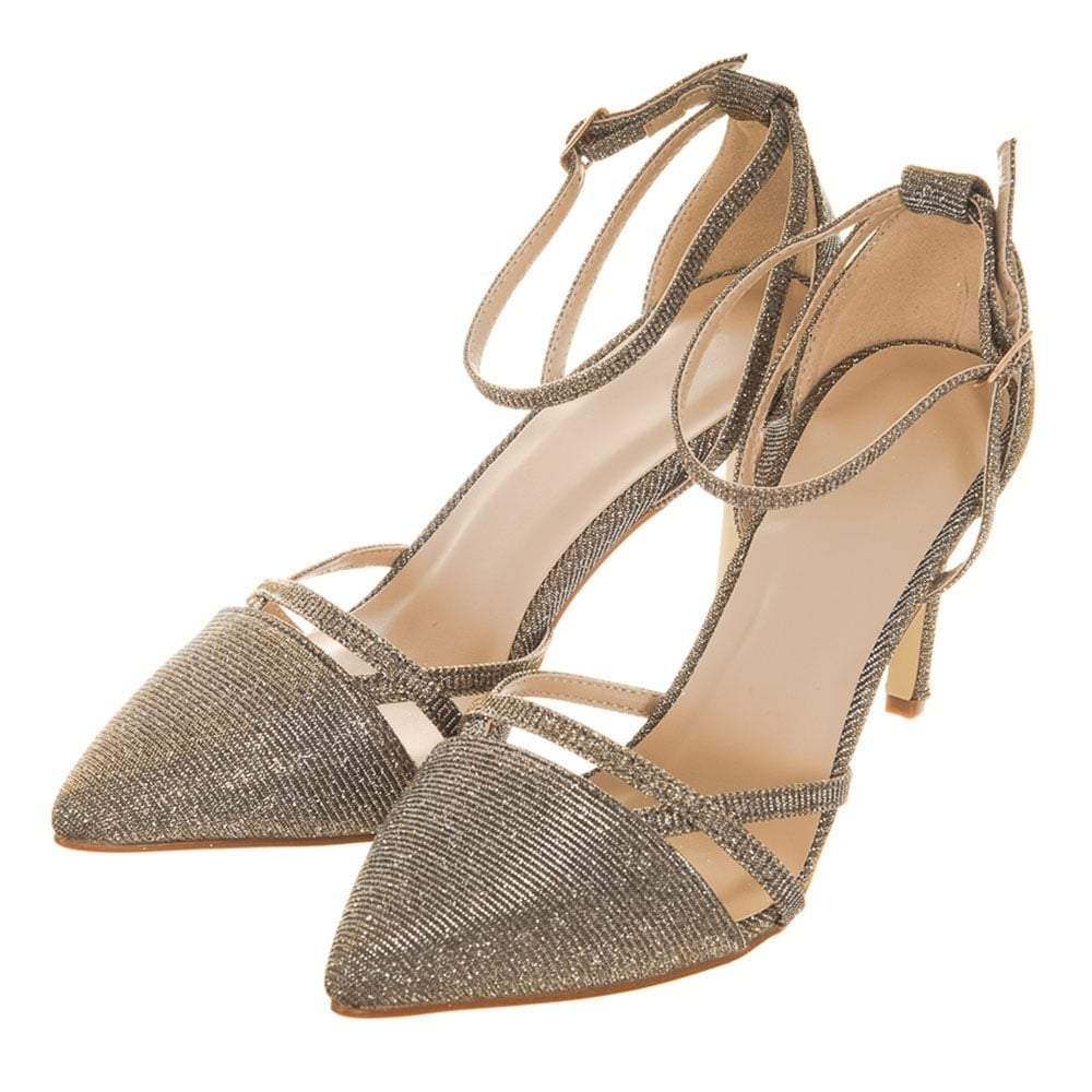 Medium Heel Shimmer Ankle Strap