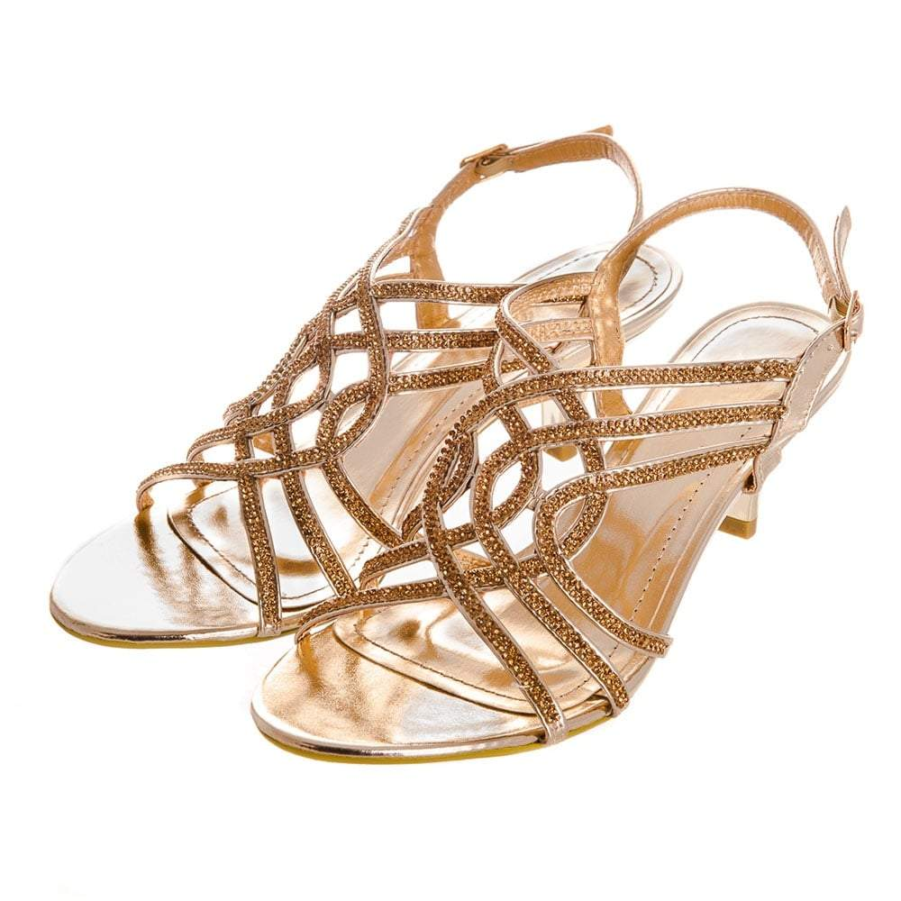 Low Heel Strappy Diamante Open Toe Sling Back Sandal.