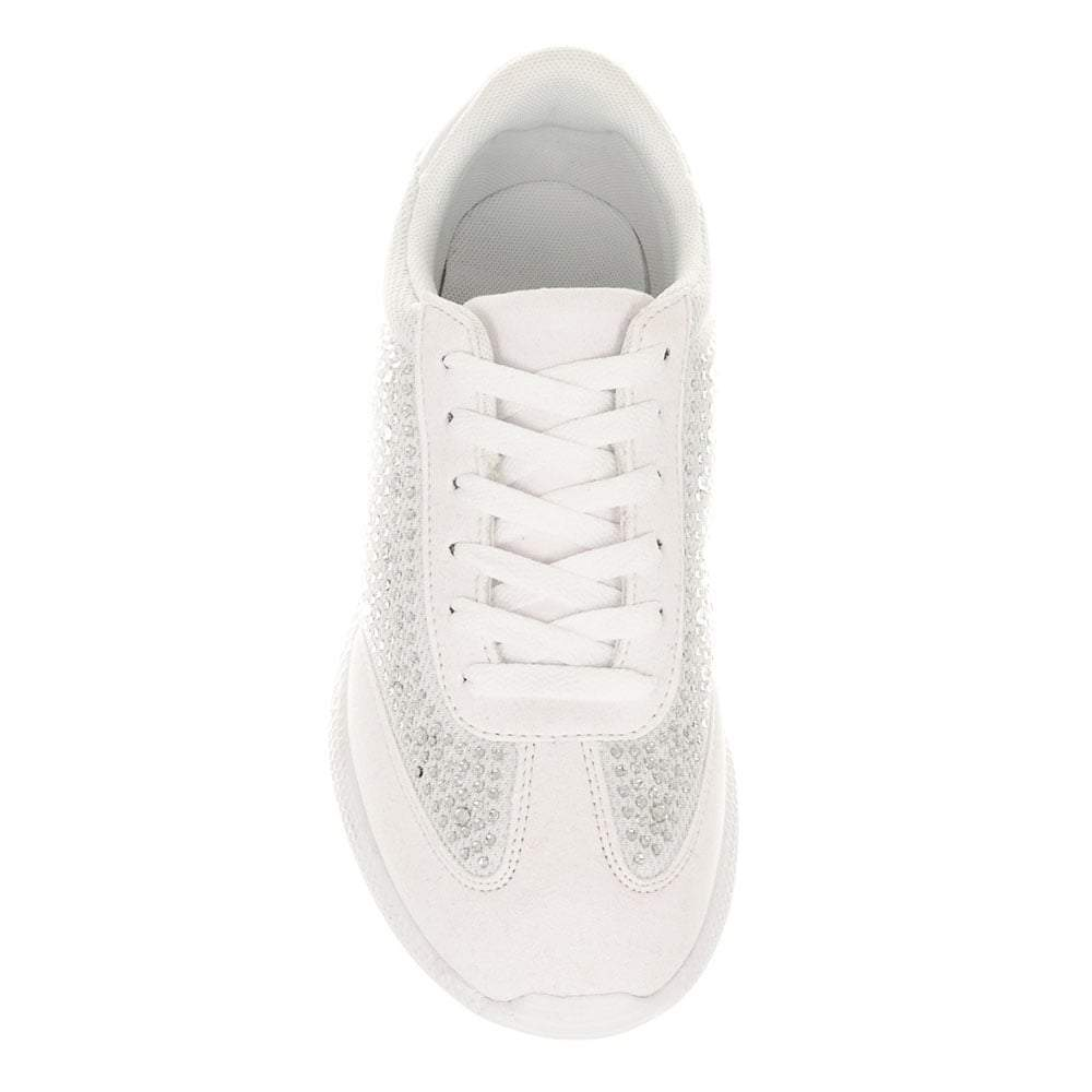 Flat Diamante Lace Up Trainer