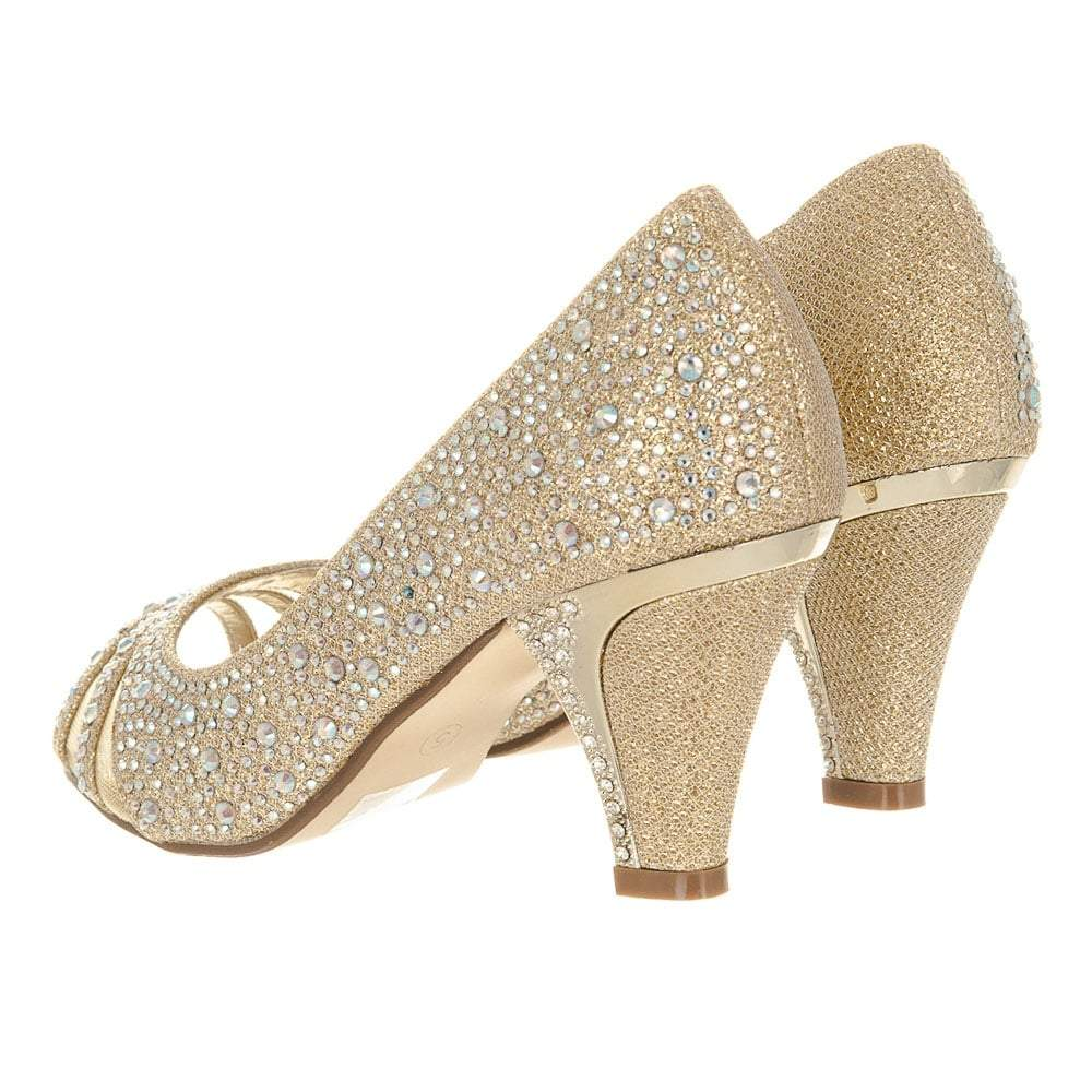 Ladies Open Toe Diamante Kitten Heel